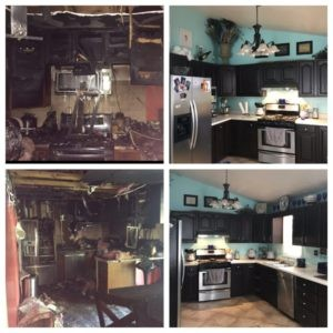 Before and after fire and smoke damage kitchen
